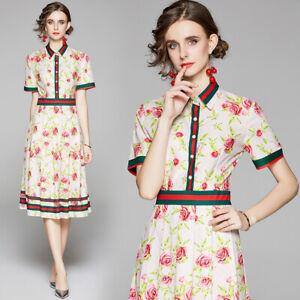 2019 Summer Runway Vintage Print Collar 1//2 Sleeve Empire Waist Women Midi Dress