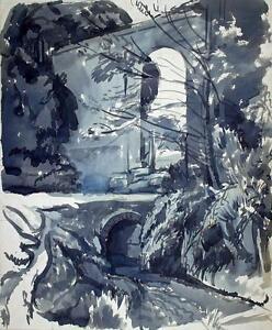 ROBERT-KIRKLAND-JAMIESON-Watercolour-Painting-VIADUCT-IN-LANDSCAPE-c1930