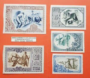 BILBAO-5-10-25-50-100-PESETAS-1937-EUSKADI-1x-SELLO-EN-SECO-EUZKADI-BILLETES-5