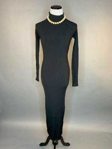 NWOT DION LEE Cutout ribbed-knit midi dress  BLACK XS S M