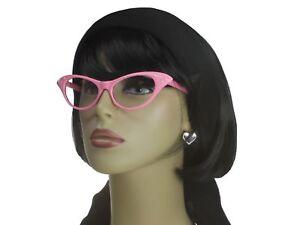 8c22434234 Cat Eye Glasses Rhinestone Clear Lens 50s Retro Vintage Style Women ...