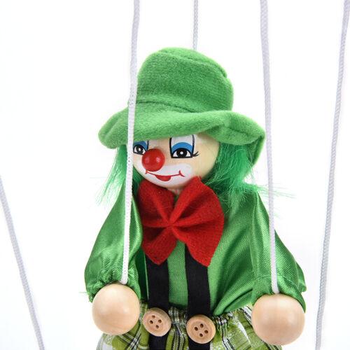 Great Marionette Pull String Puppet Clown Wooden Doll Kids Children Fun Toy  LD
