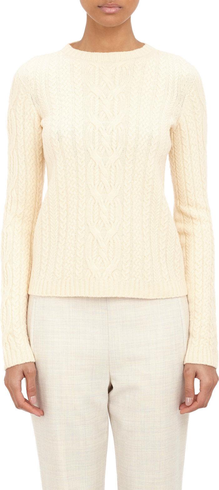 New THE ROW Cashmere Merino Wool Dark Cream FELICITY top sweater XS S