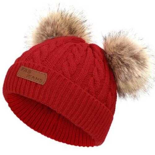 Details about  /Toddler Kids Girls Boys Faux Fur Pom Pom Bobble Knit Winter Warm Hat Beanie Cap