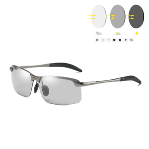 Half-Rimless-Polarized-Sunglasses-Transition-Photochromic-Mens-Driving-Sporty-UV