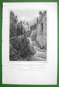 SWITZERLAND-Rhine-River-Tunnel-of-the-Rofflen-1853-Antique-Print