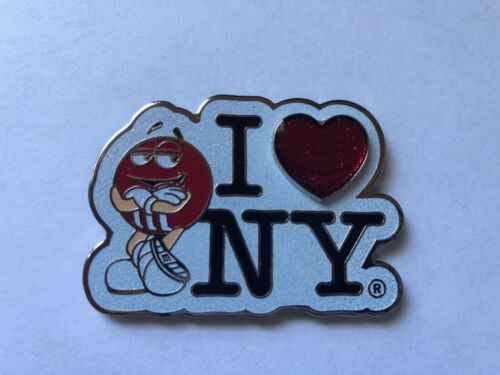 M/&M/'s World I Love New York Red Glitter Metal Magnet New