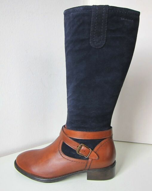 Tamaris Reit Stiefel Mix blau muskat Gr 38 Boots M L Wildleder blue brown cognac