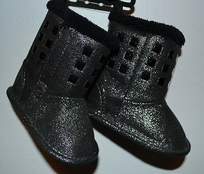 Black Baby Boots with Pink Studs Spikes Faux Fur Trim Infant Booties Glam Bling