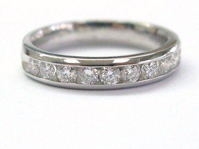 Platinum 10-Stone Channel Set Round Cut Diamond Anniversary Ring .55CT Size 5.5