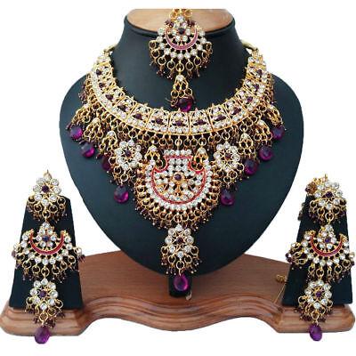 Gold Plated Bridal Kundan Zerconic Bollywood Necklace Set Earring Tika Jewelry