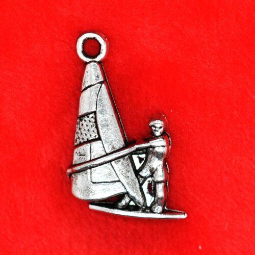 6 x Tibetan Silver Sailing Boat Seaside Charm Pendant Jewellery Making