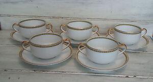 Set of 5 Haviland & Co Limoges France Schleiger 571 bouillon cups & saucers 8pc
