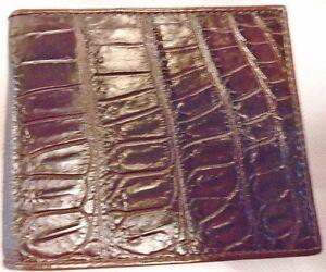 Genuine Crocodile Belly Pattern Skin Leather Mens Bifold
