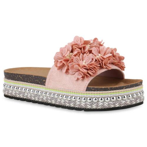 Damen Plateau Sandaletten Ethno Pantoletten Blumen Sommer Schuhe 826503 Trendy