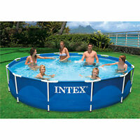 "Swimming Pool 12' x 30"" Metal Frame INTEX Large Family Pool Set w/ FILTER PUMP"