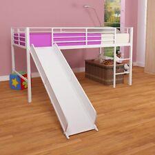 Girls Kids White Metal DHP Loft Twin Bed Frame with Slide Bedroom Furniture New
