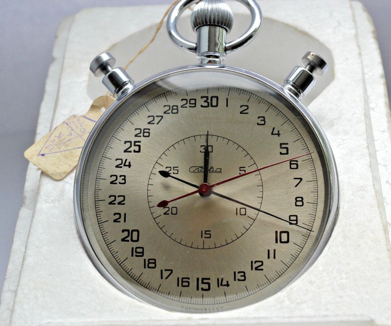 Stopwatch Chronometer SLAVA in original box USSR Vintage 20 jewels EXCELLENT