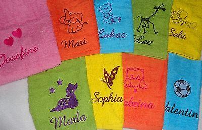 Kinder Handtuch mit Namen  bestickt 30 x 50 cm Kindergarten Schule Gästehandtuch