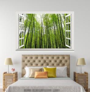 3D Green Bamboo 117 Open Windows WallPaper Murals Wall Print AJ Carly