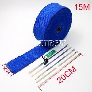CAR EXHAUST HEADER HEAT WRAP BLUE 15M x 50MM ROLL DUMP PIPE CATBACK MUFFLER