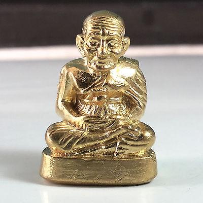 Miniature Figurine Brass Statue of Monk LP Tuad Metalwork Art Gold Plated