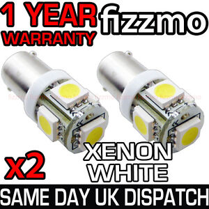 FIZZMO-2x-5-SMD-LED-No-Reverse-Polarity-233-BA9S-T4W-BAYONET-WHITE-LIGHT-BULBS
