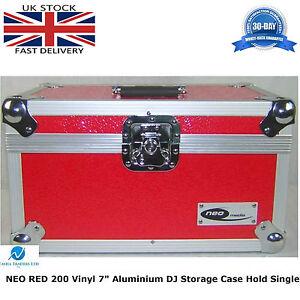 2-X-Aluminium-Red-Storage-DJ-Flight-Carry-Case-Hold-200-Vinyl-Singles-7-034-Records