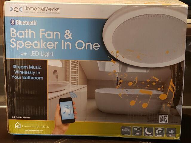 HOMEWERKS WORLDWIDE 7130-02-BT Bluetooth Bath Fan & Speaker with LED on