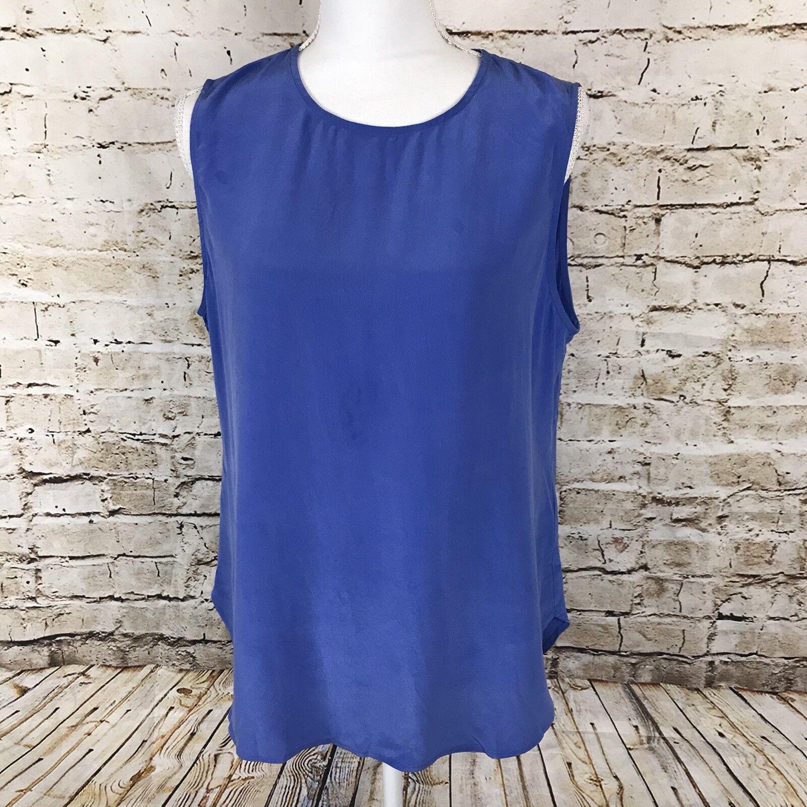 Equipment Femme damen Sleeveless Blouse Periwinkle Blau Größe Large 100% Silk