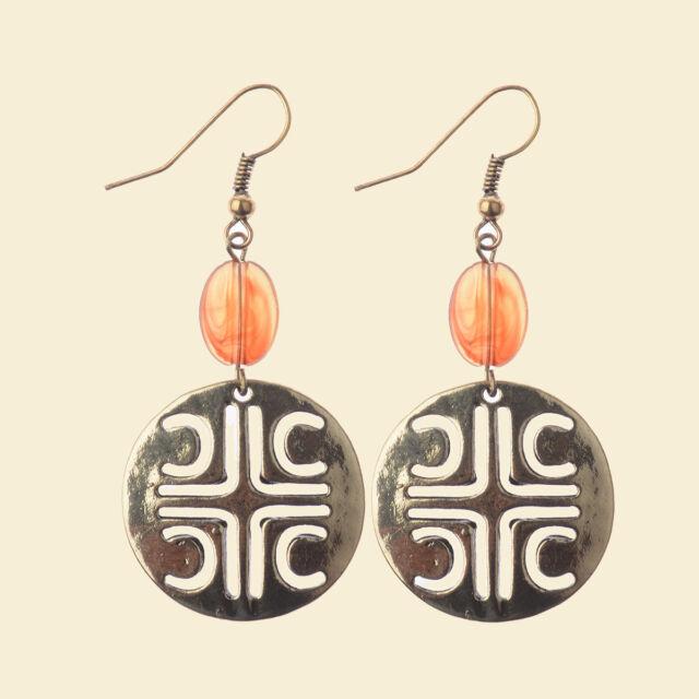 Bohemian Boho Resin Beads Ethnic Hollow Big Round Women Dangle Hook Earrings