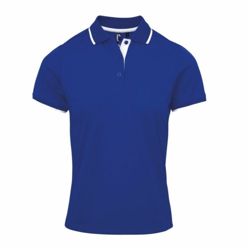 Premier New Womens Contrast Tipped Coolchecker Polo Shirt Work Sports Casual TOP