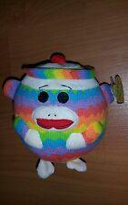 "TY Beanie Ballz Plush Ball Monkey Socks Button Eyes 4.72"" New"