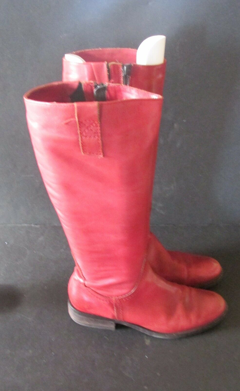 Lavorato A Mano Womens RED Boots Euro Size 38 Leather  Italy Knee High Tall