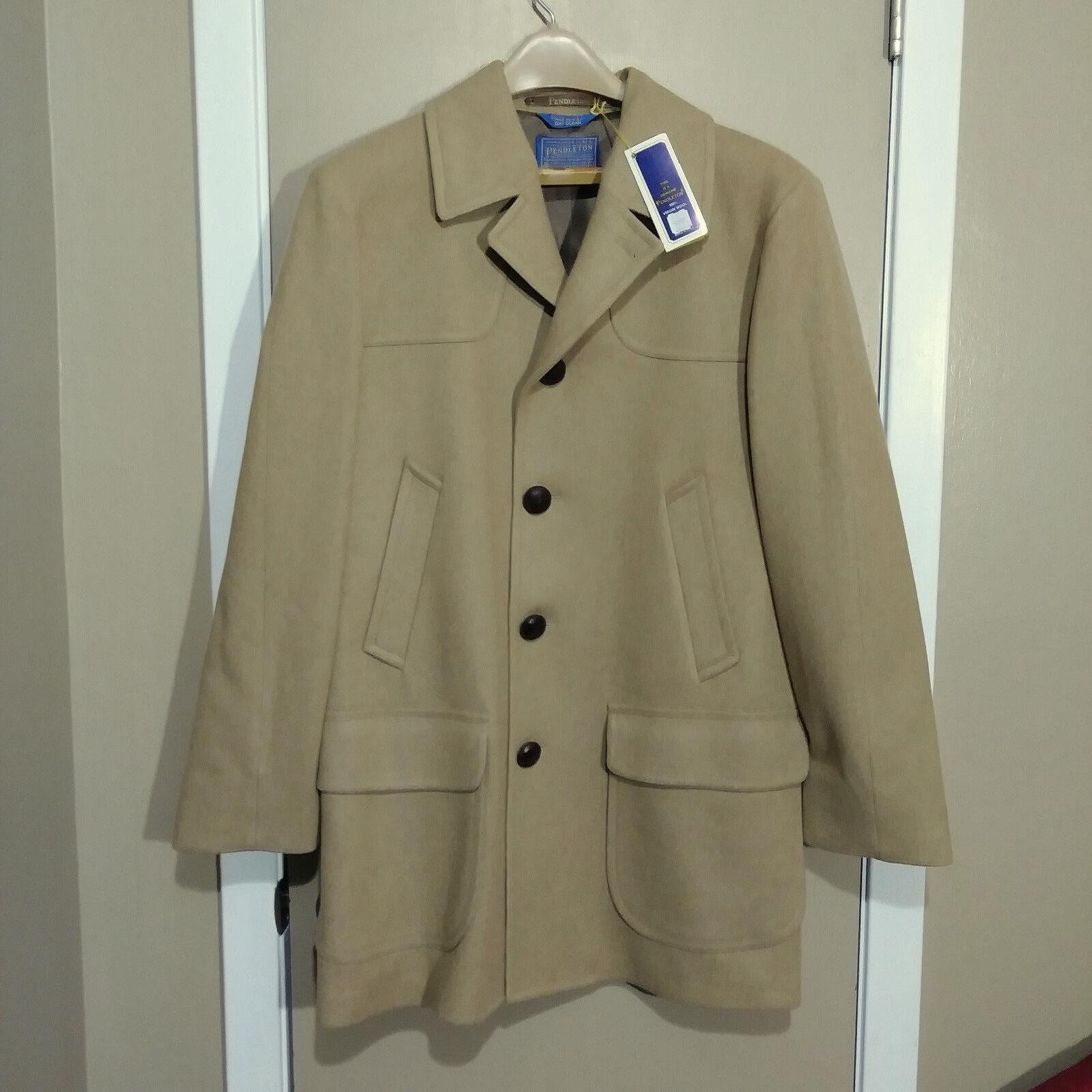 NWT 60s Vintage Pendleton 100% Virgin Wool Coat Overcoat Camel Tan Mens 40 Large