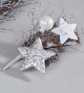 Tischdeko Weihnachten 16 Cm Weiss Silber Graues Reisiggeflecht Ebay