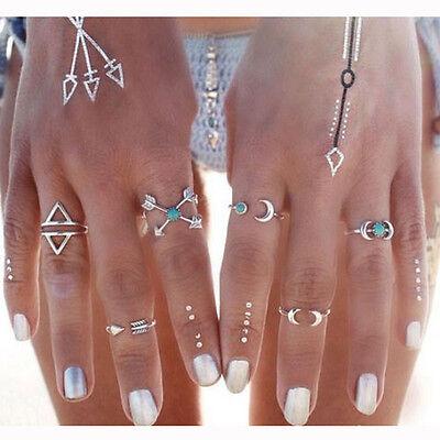 Best Charms 6Pcs Turquoise Arrow Moon Statement Midi Rings Set Women Jewelry Hot