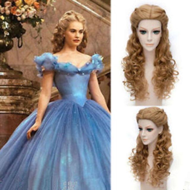Movie Princess Cinderella Wig Long Curly Brown Anime Cosplay Wig with Braid