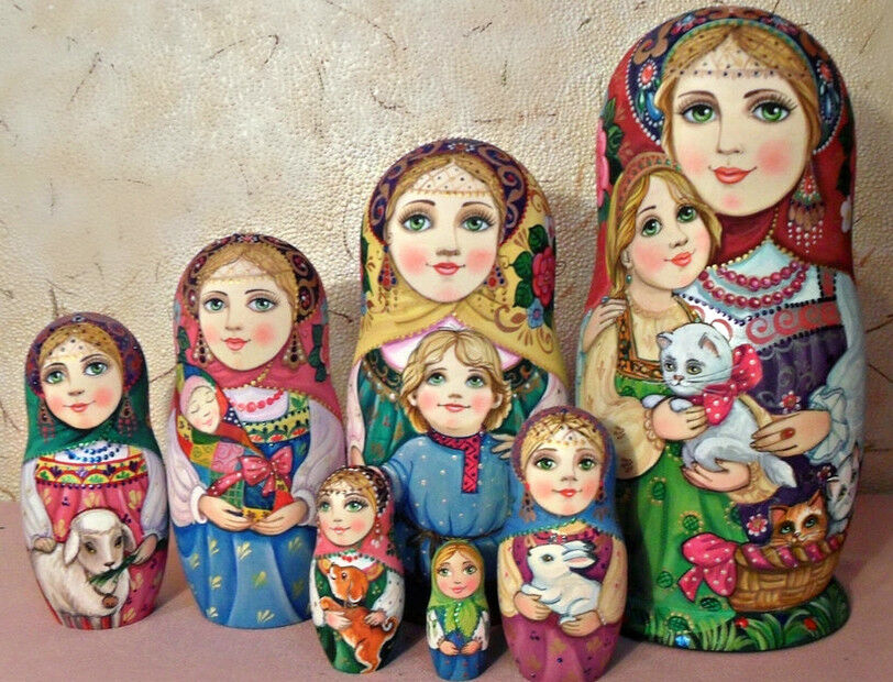 Russian Matryoshka Muñeca Anidación Rusas belleza Animales Hecho a Mano Exclusivo