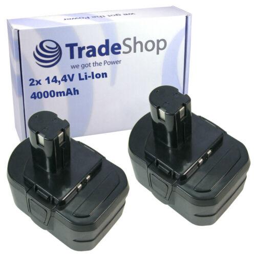 2x Trade-Shop AKKU 14,4V 4000mAh ersetzt Ryobi BPL1414 BPP1413 BPP1415 BPP1417