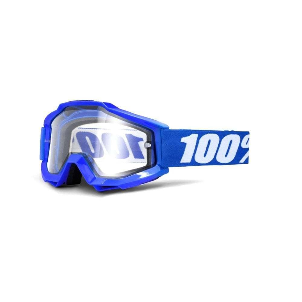 100% Accuri Enduro MOTO Goggles - Reflex bleu With Clear Dual Lens
