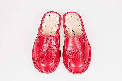 Mujer señoras del 100% Cuero Rojo Zapatillas Mulas Zuecos todos los tamaños
