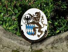 VINTAGE GERMAN ENAMEL AUTOMOBILE CAR CLUB BADGE # ADAC GAU SOUTH BAVARIA GERMANY