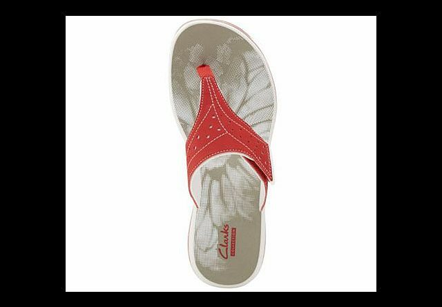 Clarks Slide Thong Sandals - Brinkley Star Size Size 11M New Red QVC  48.00