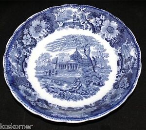 Flow-Blue-Antique-W-Adams-Venetian-Scenery-Transferware-8-75-034-Bowl