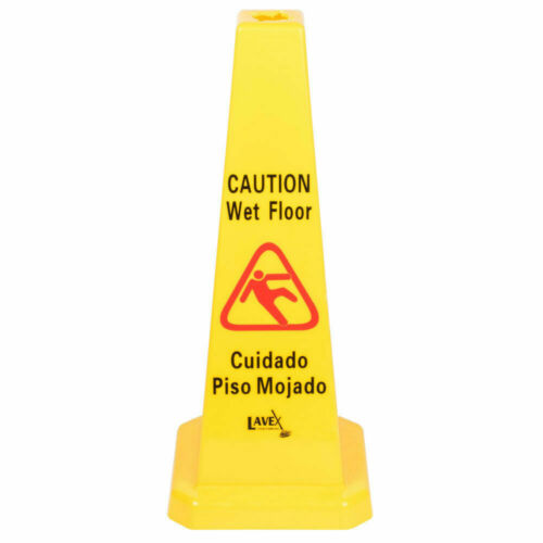 """Details about  /6 PACK Restaurant Caution Wet Mop Bucket Floor Yellow 27/"""" CONE Sign Commercial"""