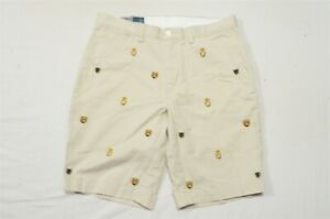 Polo-Ralph-Lauren-34-x-11-034-Khaki-All-Over-Coat-of-Arms-Chino-Shorts