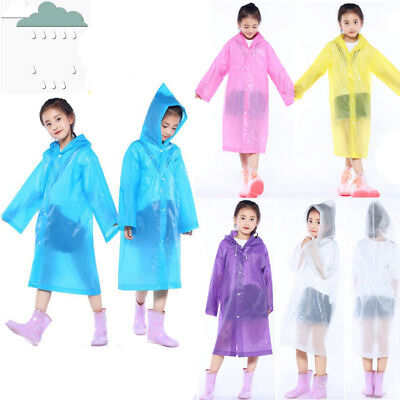 1PC Portable Reusable Raincoat Children kids Baby Rain Poncho For 6-12 Years Old