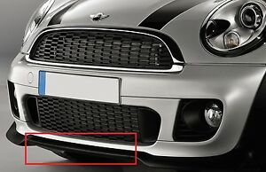 MINI-NEW-GENUINE-R55-R56-R57-R58-JCW-FRONT-BUMPER-LOWER-SPOILER-BLACK-7283372