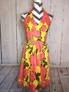 8d45d97066b La foto se está cargando Trina-Turk-Halter-Dress-Pink-Coral-Yellow-Lined-